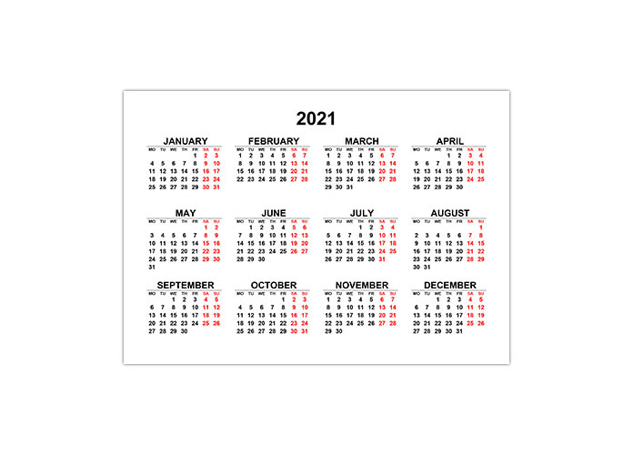 Календарь 2021 на английском языке