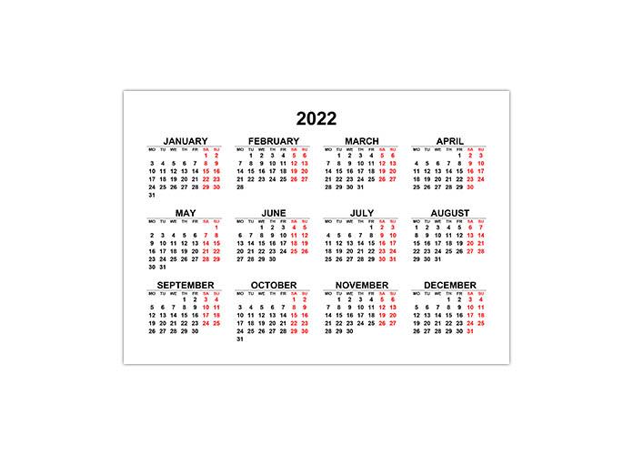 Календарь 2022 на английском языке