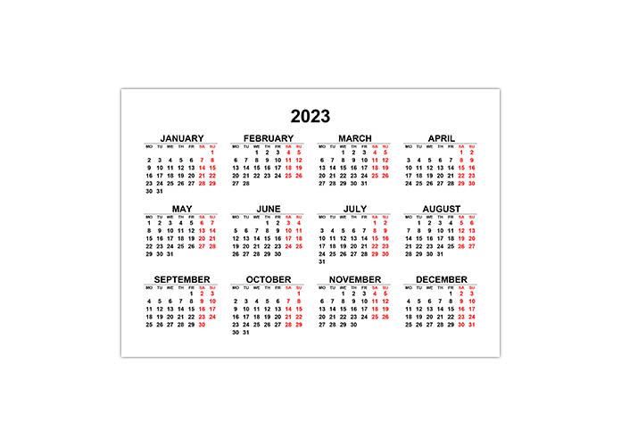 Календарь 2023 на английском языке