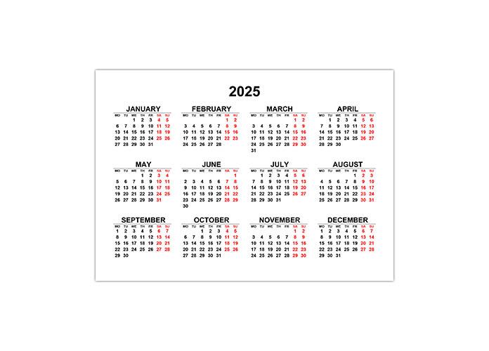 Календарь 2025 на английском языке