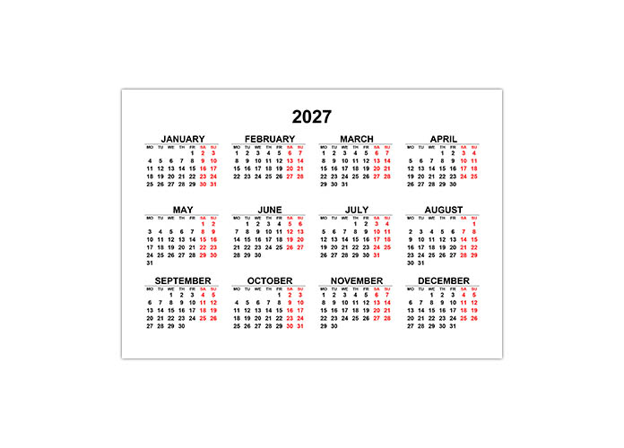 Календарь 2027 на английском языке