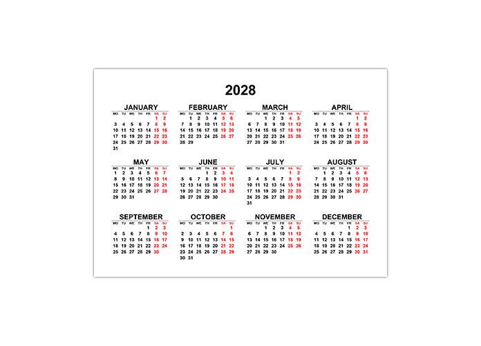 Календарь 2028 на английском языке