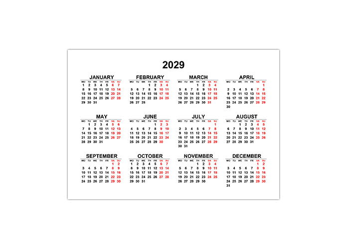 Календарь 2029 на английском языке