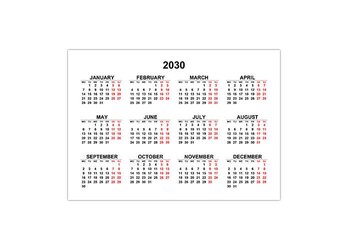 Календарь 2030 на английском языке