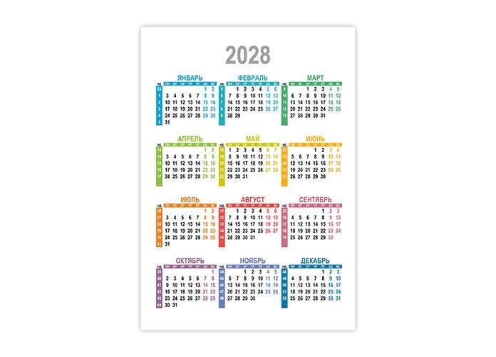 Вертикальный календарь 2028 с номерами недель