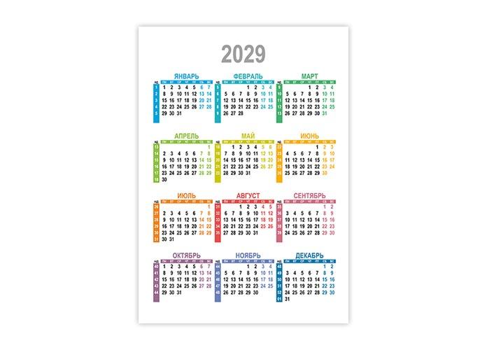Вертикальный календарь 2029 с номерами недель