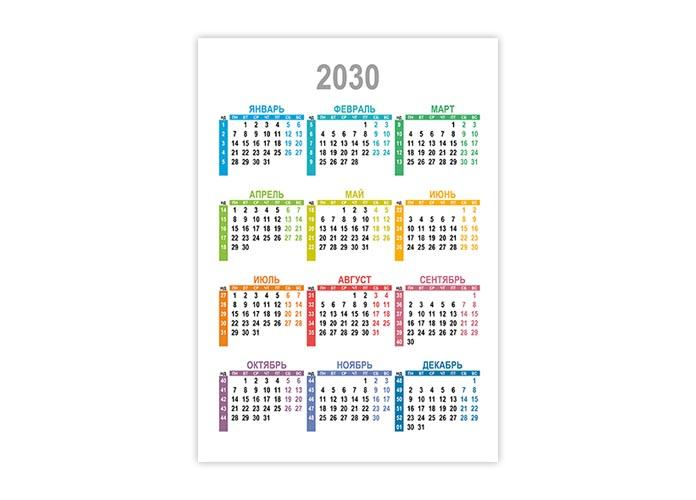 Вертикальный календарь 2030 с номерами недель